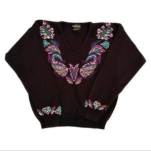 Vintage cotton knit sweater with paisley print